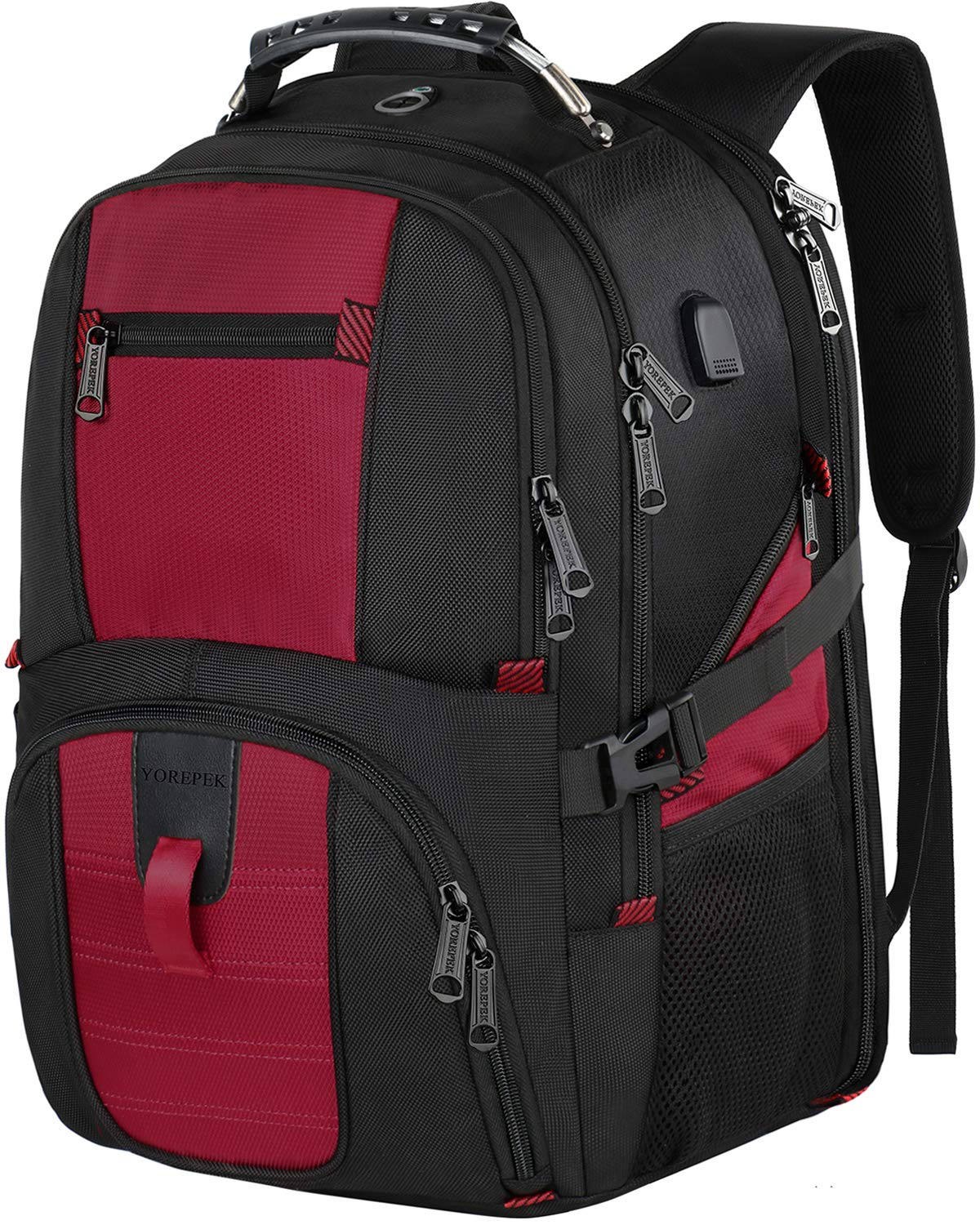 Large Laptop Backpack,TSA Approved Backpacks with USB Charging Port,Durable Travel Backpacks College School Bookbag Computer Bag with Laptop Compartment for Women Men Fits 17 Inch Laptop,Red by YOREPEK