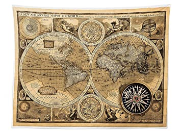 A New And Accvrat Map Of The World 1626.Amazon Com Vipsung Wanderlust Decor Tablecloth Old Map 1626 A New
