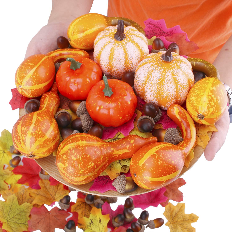 Mini Calabaza bellotas y decoraci/ón de oto/ño Kit Thanksgiving Halloween Party Decor E-Bestar 158 Piezas Artificiales de oto/ño Calabaza Hojas
