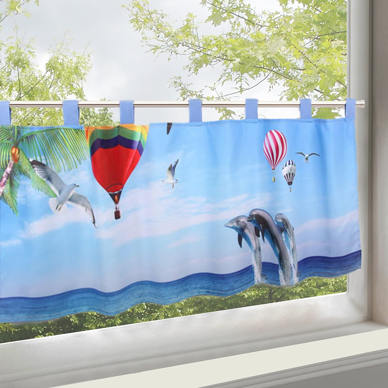 KAMACA - Moderna e decorativa tendina per finestre semitrasparente con passanti, in morbido voile e stampe digitali con motivi a fiori, 45 x 115 cm (A x L), un gioiello in ogni cucina, Tessuto, Delfine im Meer, 45x115 cm KAMACA-SHOP