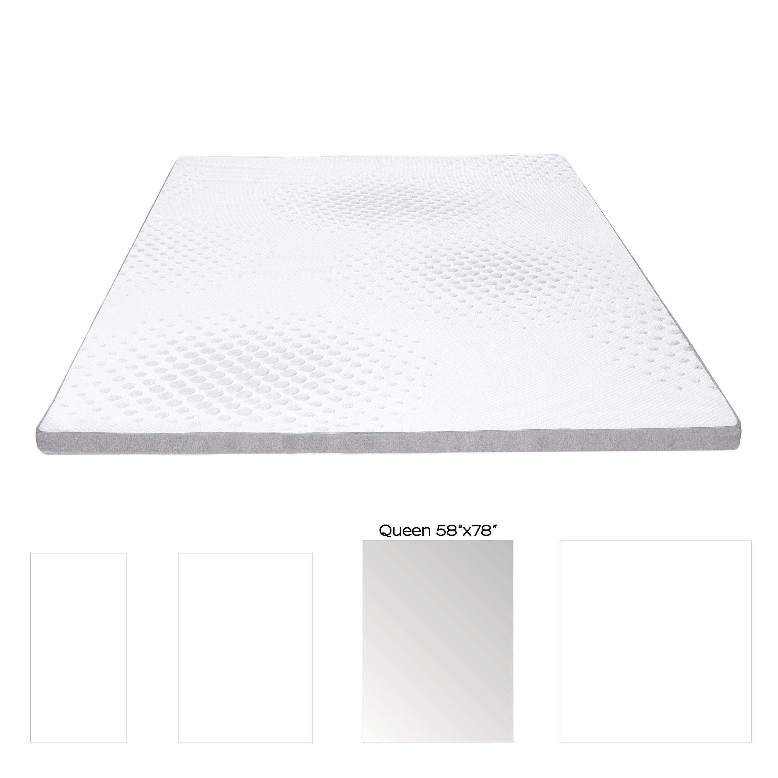 Milliard 2-Inch Gel Memory Foam Mattress Topper - Featuring a Removable and Washable Soft Bamboo Cover - Queen - 78''x58''x2""