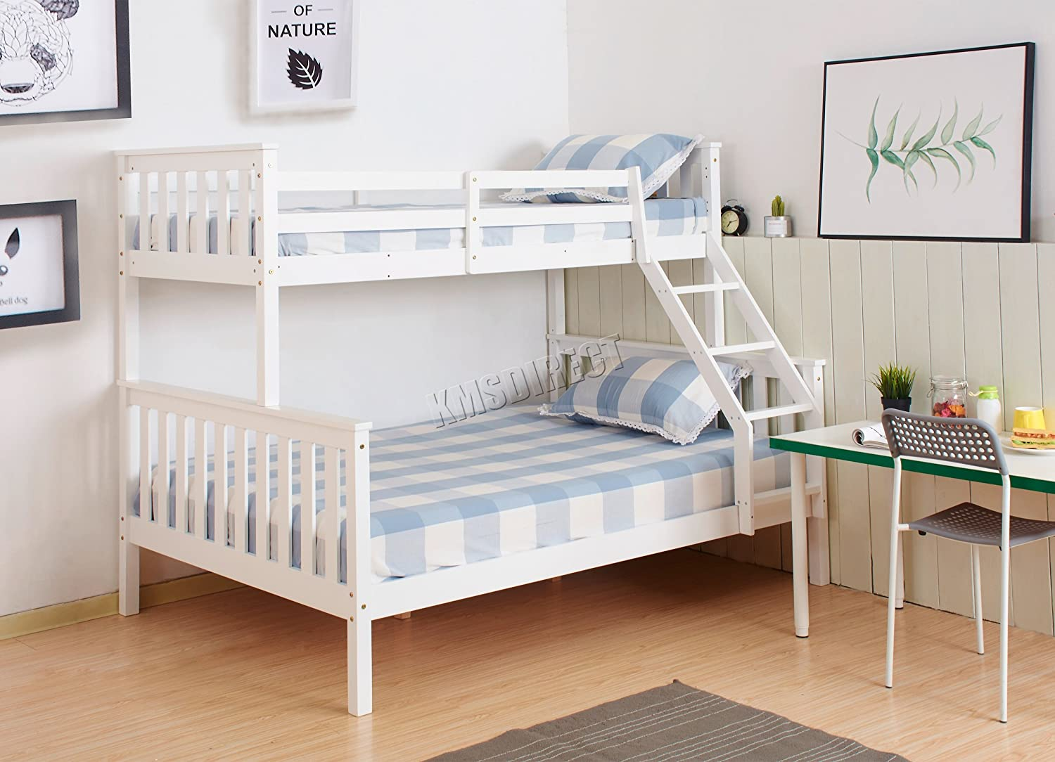 Foxhunter Triple Children Sleeper Bunk Bed With A New Wooden Frame Bed Without Mattress Protector White Top Single Bottom Double Bed Furniture Amazon De Kuche Haushalt