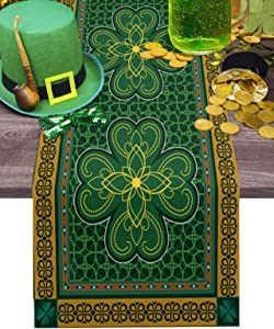 St. Patrick's Day Table Runner-Cotton linen-Long 108 inch, Retro Celtic Knots Lucky Clover Irish Tablerunner for Kitchen Coffee/Dining/End Table Bedroom Living Room,Scarfs Decor for Holiday Dinner