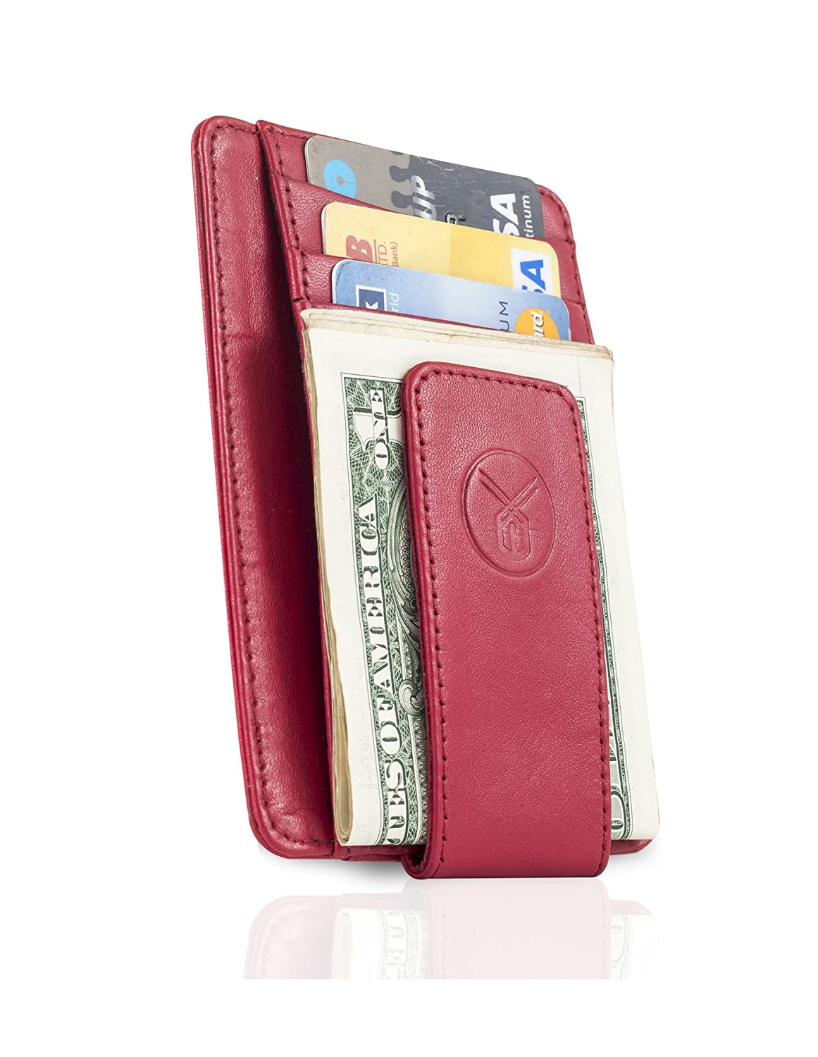 Money Clip Genuine Leather RFID Minimalist Wallet for Men by Exemplar MC803 MC803 BL