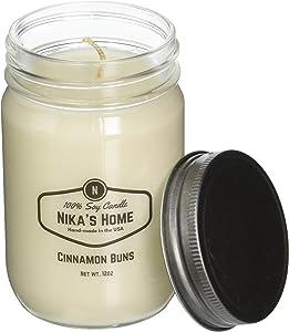Nika's Home Cinnamon Buns Soy Candle - 12oz Mason Jar
