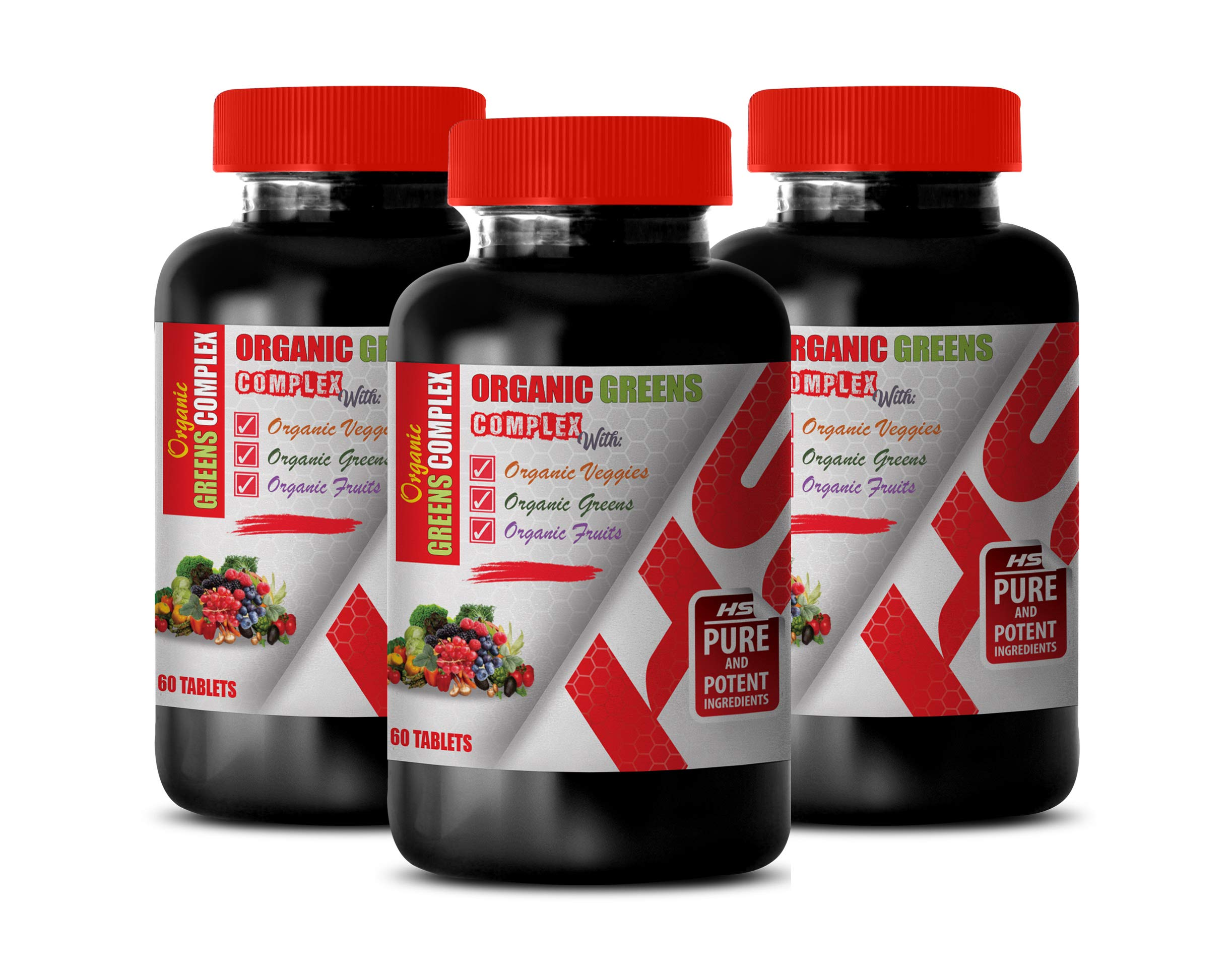 antioxidant Formula Fights Free radicals Tablets - Organic Greens Complex with Veggies, Greens, Fruits - Garlic Supplement for high Blood Pressure - 3 Bottles 180 Tablets
