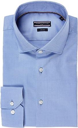 Tommy Hilfiger TT0TT01941-415 Core Stretch Oxford Camisa Celeste Slim Fit Hombre Cuello Francesa Celeste Oxford 37: Amazon.es: Ropa y accesorios