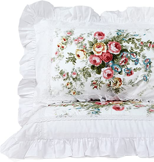 Pair 2 Chateau chic bedding decor  pair of white cotton embroidered pillowcases with green yellow ditsy flowers roses 28 x 18 inches