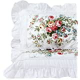 "FADFAY Shabby Pink Rose Floral Print Pillowcases Elegant Country Style Vintage Lace Ruffles Bedding Pillow Covers Standard Size 19"" x 29"" (Twin/Full/Queen, Vintage Rose)"