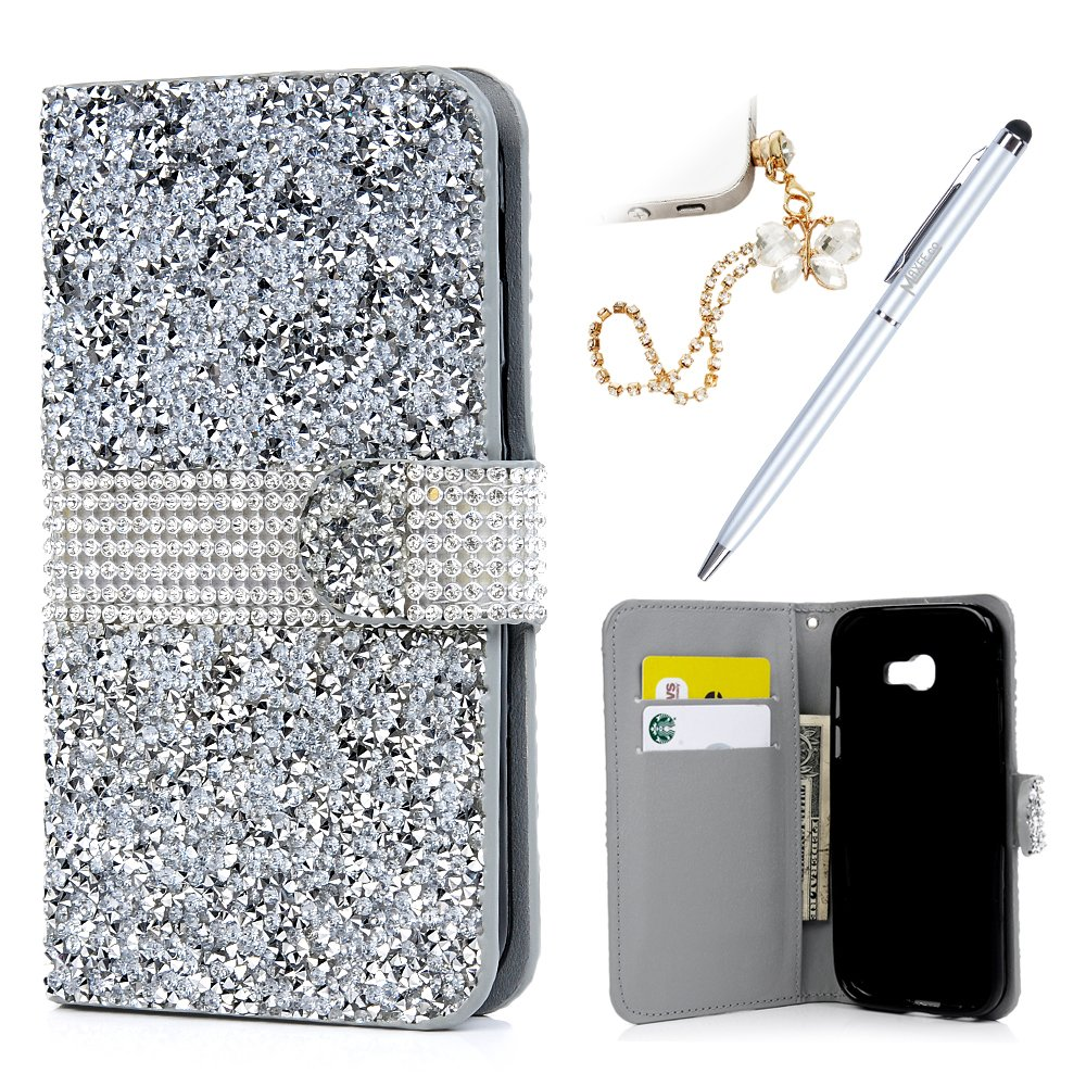 A5 2017 Case Glitter - MAXFE.CO Case Made for Galaxy A5 2017 Case 3D Shiny Diamonds Bling Gems Premium PU Leather Wallet Flip Case for Samsung Galaxy A5 2017 with Magnetic Clasp & Card Holders + One Dust Plug + One Touch Pen, Silver ZH-DXM-HPP175863-UK