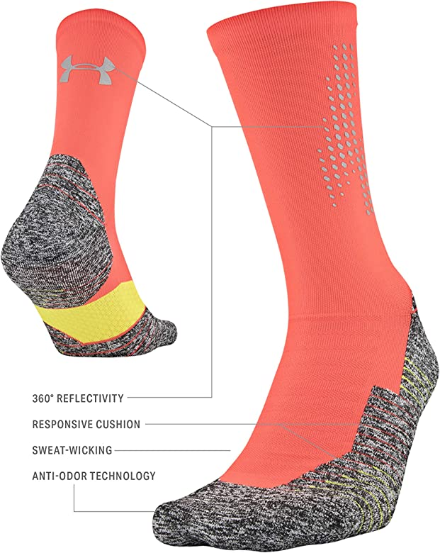 Under Armour Womens Run Cushion 2.0 No Show Tab Socks 1-pair