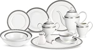 Lorenzo 57 Piece Elegant Bone China Service for 8 Evelyn Dinnerware Sets, Silver