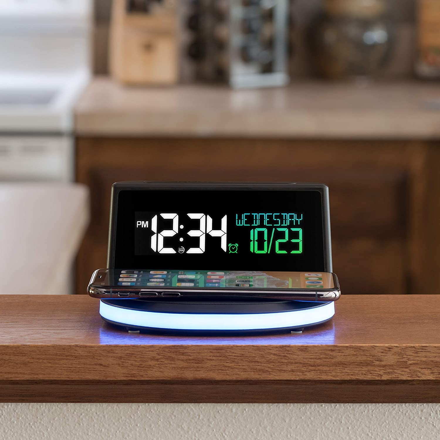 La Crosse Technology 617-148-INT Wireless Charging Alarm Clock with Glowing Light Base, Black