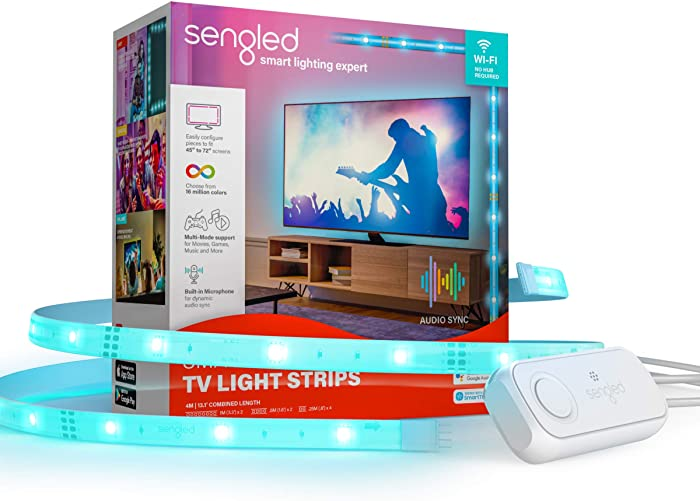 Sengled Smart WiFi TV LED Backlight Works with Alexa, Google Home & SmartThings, 13.12Ft LED Strip Lights for TV with Audio Sync, Voice &App Control, RGB TV Light Strip for Screen Sizes 45 to 72 Inch