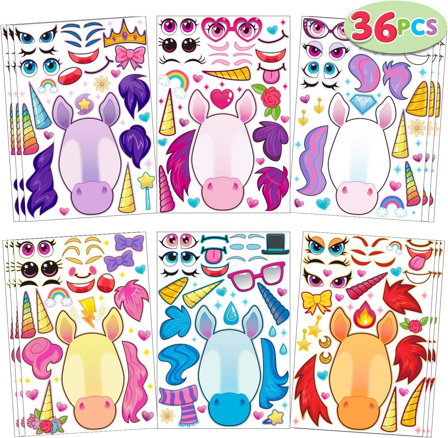 JOYIN 36 PCS Make-a-face Sticker Sheets Make Your Own Unicorn Fantasy Animal Mix and Match Sticker Sheets with Fantasy Unicorn Animals Kids Party Favor Supplies Craft