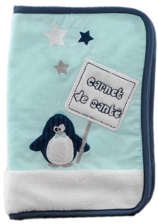 BARBACADO Protège carnet de santé bébé bleu pingouin, fermeture à zip, 26x17cm, cadeau naissance