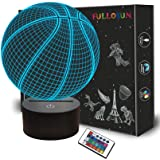 FULLOSUN Basketball 3D Night Light Birthday Gift Lamp, Light Up Basketball Gifts 3D Illusion Lamp with Remote Control 16 Colo