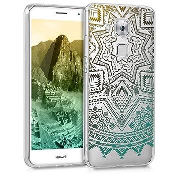 kwmobile Funda para Huawei Nova Plus - Carcasa Protectora de TPU con diseño de Sol Azteca en Amarillo/Turquesa/Transparente