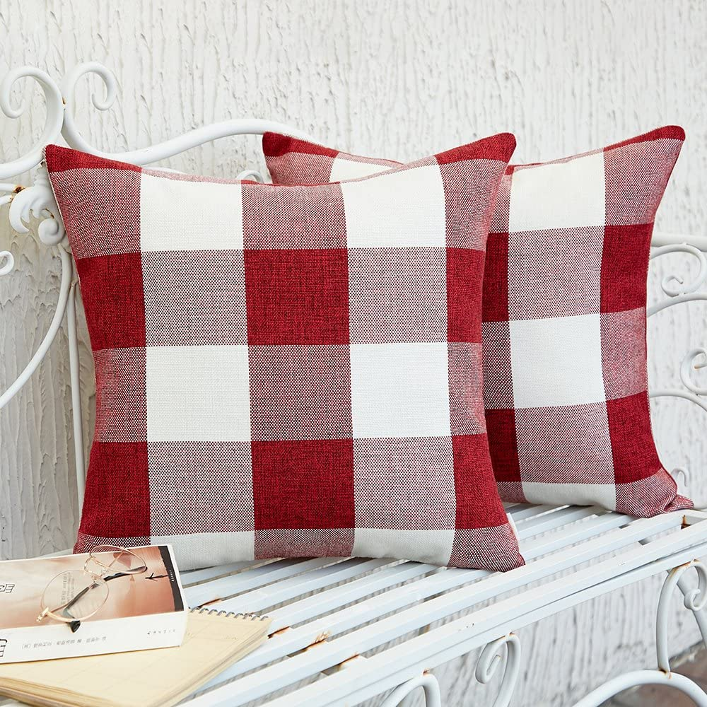 Anickal Set of 2 Brown and White Buffalo Check Plaid Throw Pillow Covers Farmhouse Decorative Square Pillow Covers 16x16 Inches for Home Decor