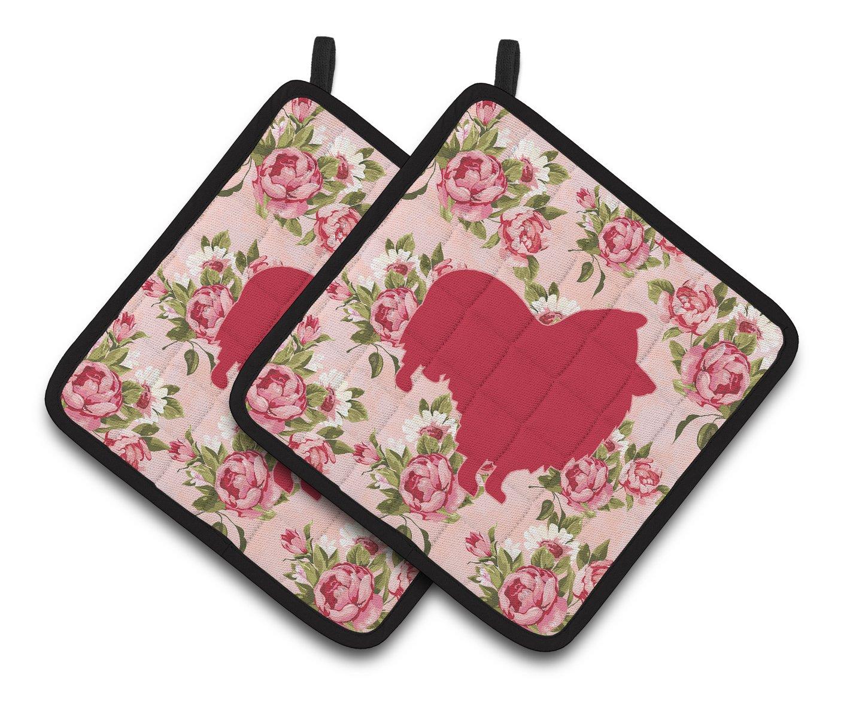 Multicolor 7.5HX7.5W Carolines Treasures Sheltie Shabby Chic Pink Roses Pair of Pot Holders BB1080-RS-PK-PTHD
