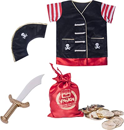 a57b2a456a70 Funklu Cotton, Velvet, Satin and Plastic Pirate Costume Role-Play Set for  Kids