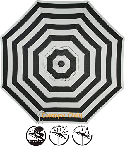 Secret Garden Home Goods 9ft 8 Ribs Market Umbrella Replacement Canopy Polyester- Black Stripe