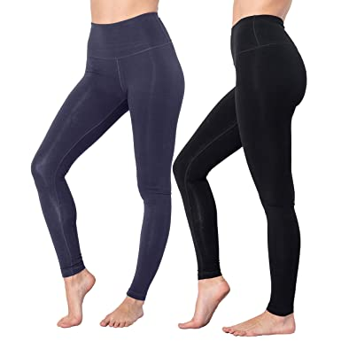 6cf3eb6664bf57 90 Degree By Reflex High Waist Cotton Power Flex Leggings - Tummy Control -  Black and