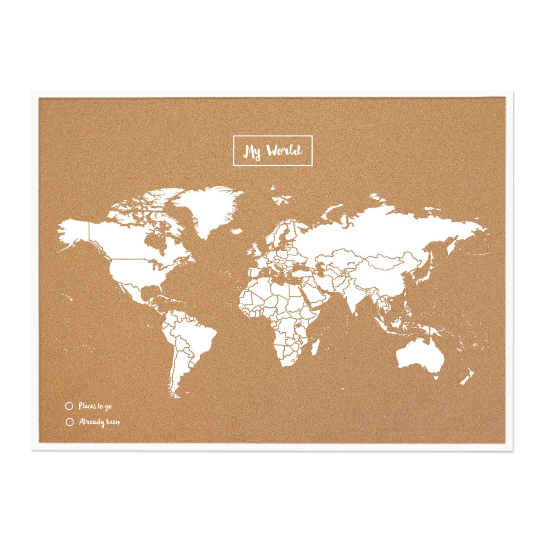 Miss Wood My World L Mapa de Corcho con Marco, Madera, Blanco, 48 x ...