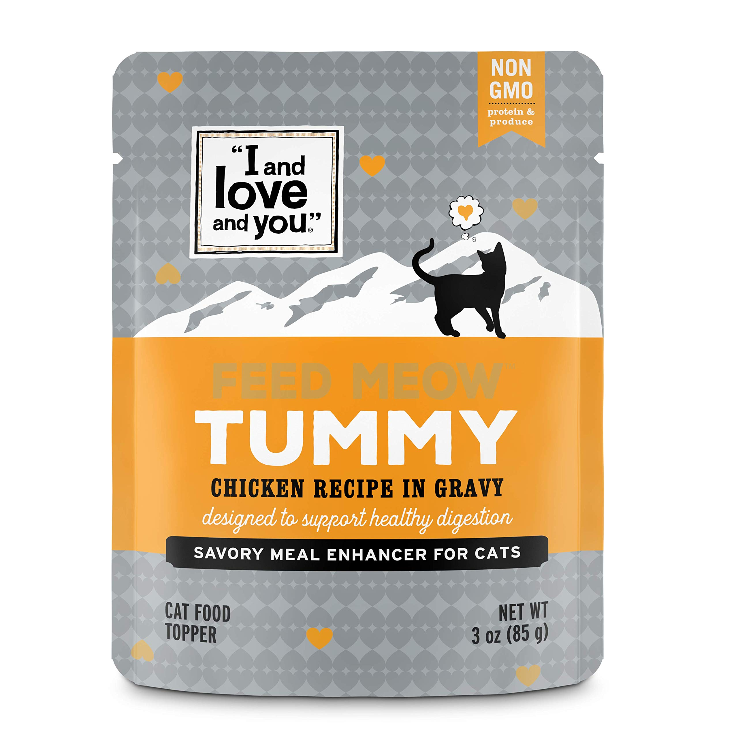 I and Love and You Feed Meow Tummy Wet Cat Food Pouch, Chicken Recipe in Gravy, 3 oz (Pack of 12) by I and love and you