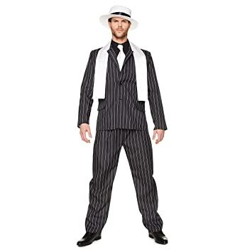 Karnival Costumes Gangster Boss Mens Fancy Dress 20S Mafia Pinstripe Traje  adulto años veinte años Disfraz 9e4218012eb