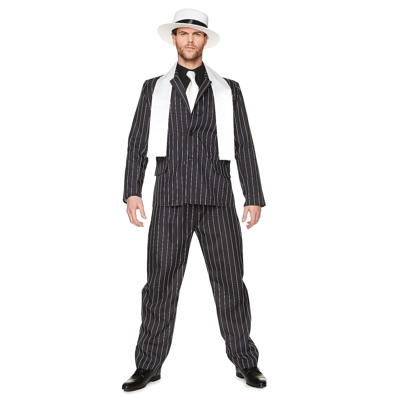 Gangster Boss, Pinstripe Suit, Mobster Costume, Mens Halloween Criminal Costume