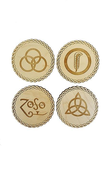 Derwent Laser Craft Led Zeppelin Inspired Wooden Symbol Coasters