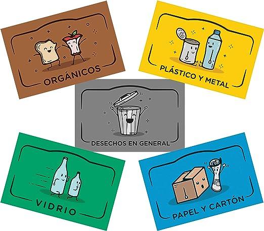 Opret 10 Pegatinas Reciclaje 6 x 10cm Cada uno Etiquetas Adhesivas para Reciclaje Pegatinas para Cubo Basura Reciclaje