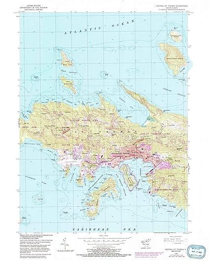 Amazon.com: Virgin Islands Maps | 1955 Central St. Thomas, VI USGS ...