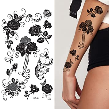 King Horse Black Roses Barbed Wire Tattoo Female Waterproof Stickers