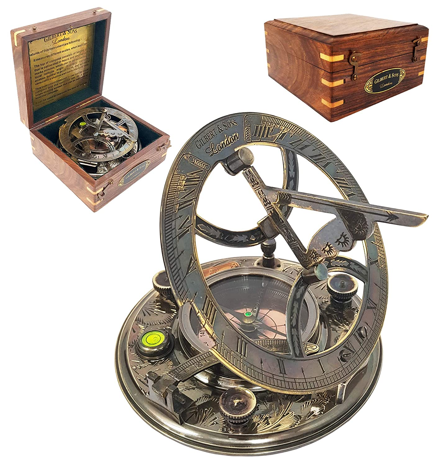 Sundial Compass 5in Dia with Hardwood Box - Antique Sundial Compass Replica - Gilbert & Sons by The New Antique Store .