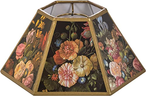 Upgradelights Black Floral 10 Inch Hex Shaped Chimney Style Lampshade Replacement 4.5x10x5.25