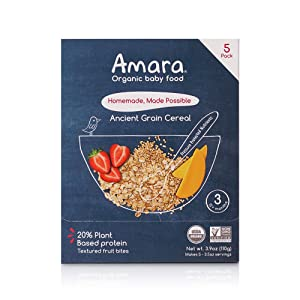 Amara Organic Baby Food | Ancient Grain | Homemade Made Possible | Mix with Breastmilk or Water | Certified Organic, Non-GMO, No Added Sugars| Stage 3 | 5 Pouches