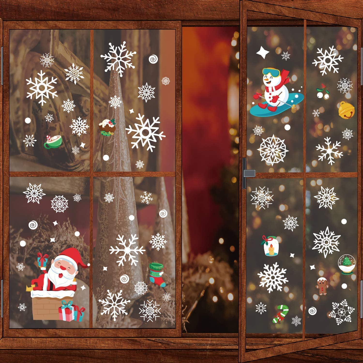 KOOXN Christmas Window Clings Holiday Decorations - 10 Sheets 166 pcs No-Glue Electrostatic Window Stickers Snow Elk Decorations for Home Office
