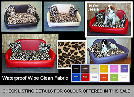 XXL marrón Leopardo Piel sintética y de Terciopelo sofá para ...