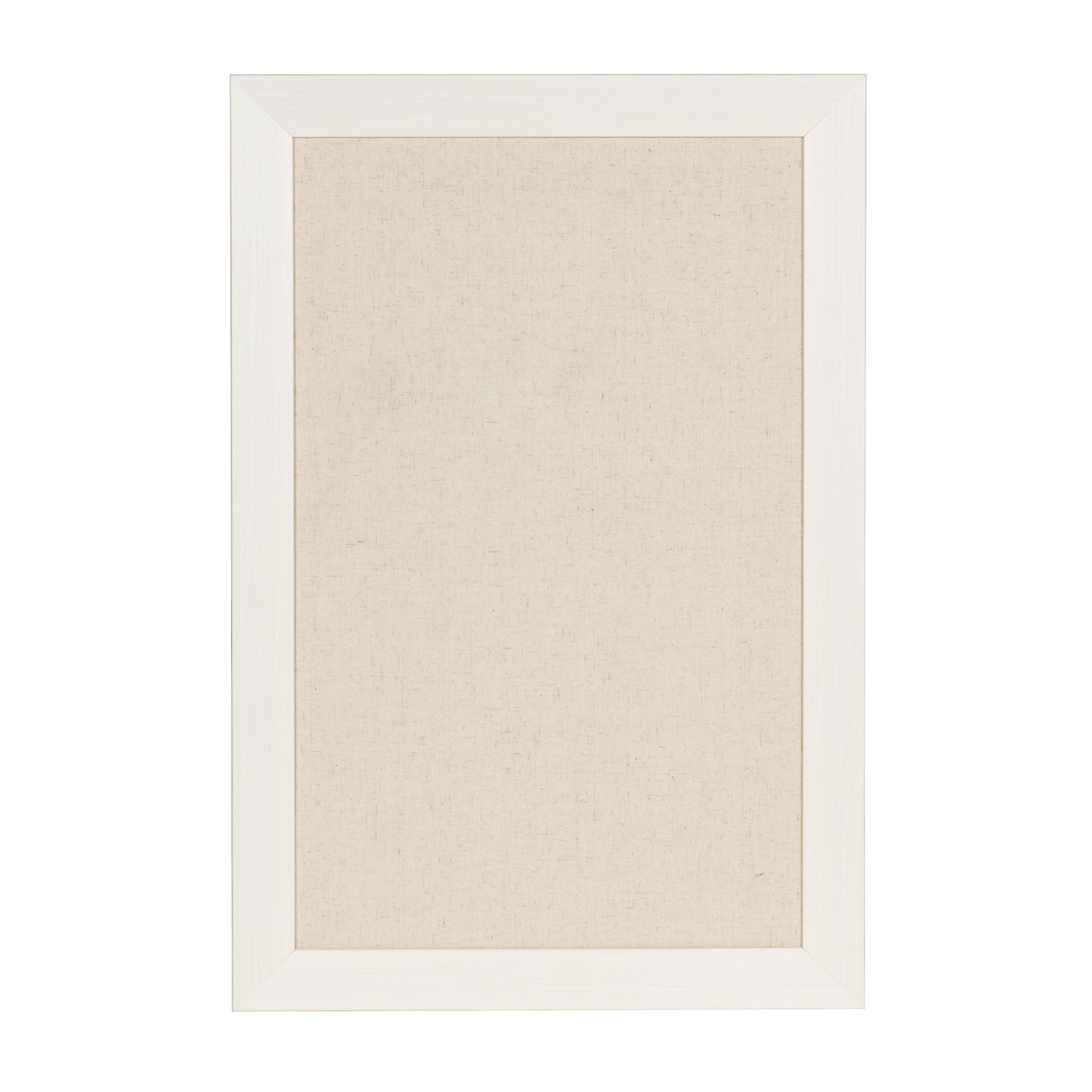 DesignOvation Beatrice Framed Linen Fabric Pinboard, 18x27, White