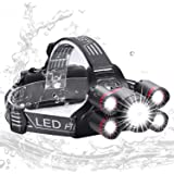 Zukvye LED Head Torch, Super Bright CREE LED Rechargeable Headlamp, 4 Modes, Zoomable Waterproof Headlight Perfect for Running, Walking, Camping, Reading, Hiking(Include 2 * 18650batteries)