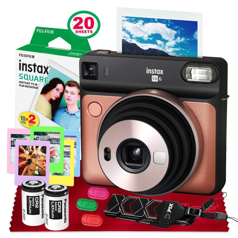 Fujifilm instax Square SQ6 Instant Film Camera (Blush Gold) + 20 Sheets Instant Square Film + Xpix Camera Strap + Fibertique Cloth (USA Warrantty) by Fujifilm