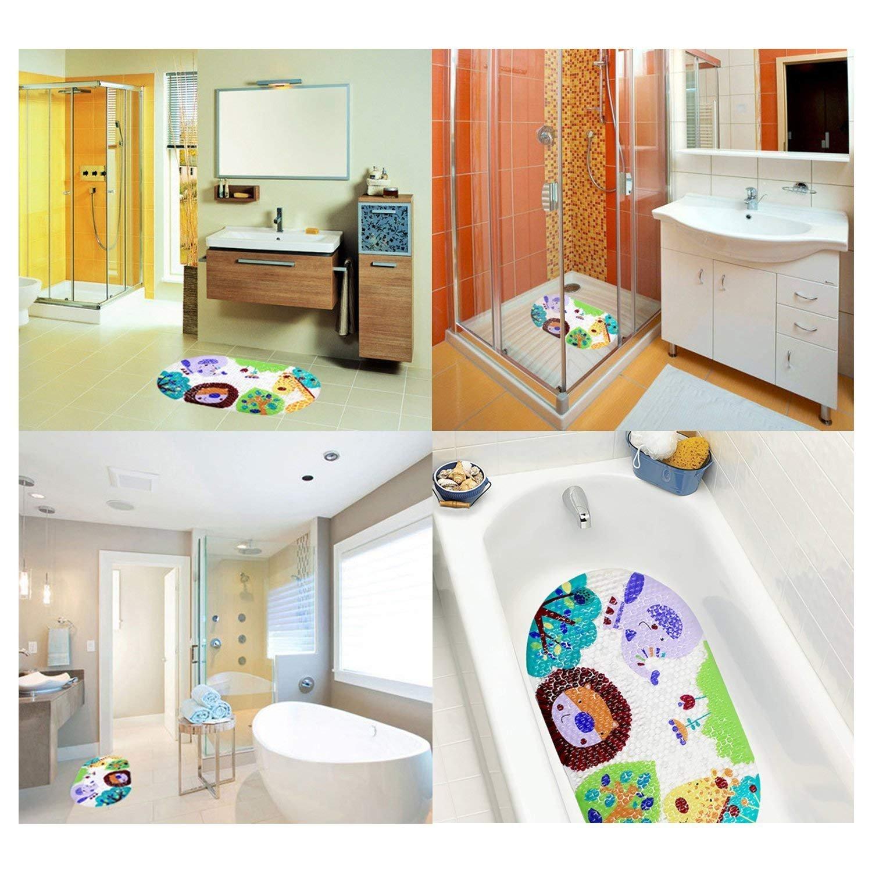PVC 15 x 27 inch Hippo 38,1 x 68,6 cm colorato Zoo tappetino antiscivolo bambini tappeto tappetino per doccia con ventose luminoso fumetto stampato tappetino per vasca da bagno per bambini