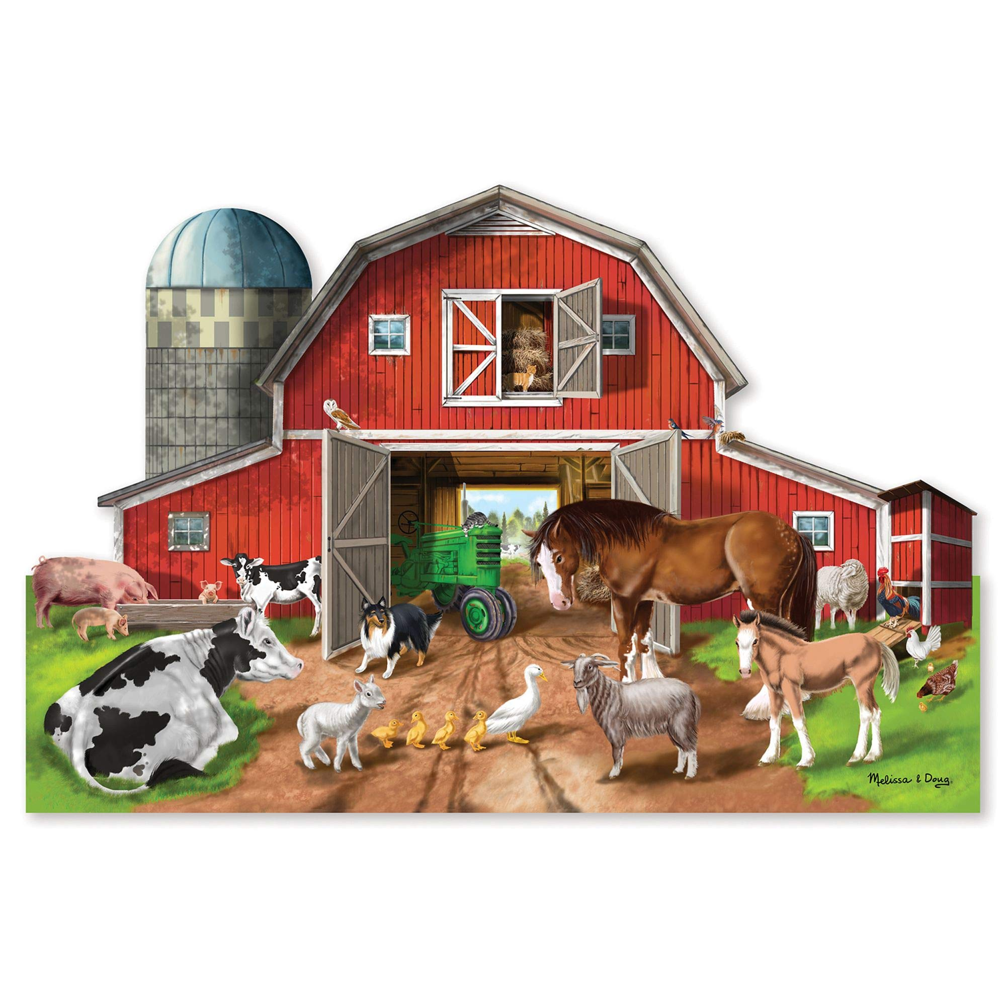 Melissa & Doug Busy Barnyard-Shaped Floor Puzzle, Beautiful Original Artwork, Sturdy Cardboard Pieces, 32 Pieces, 2' x 3'