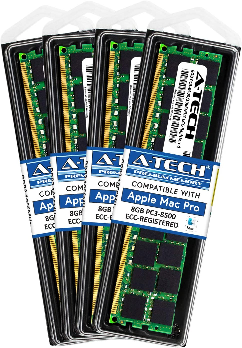 A-Tech for Apple 32GB Kit (4X 8GB) DDR3 1067MHz / 1066MHz PC3-8500 Mac Pro (Early 2009 Mid 2010 Mid 2012) MacPro4,1 Memory RAM