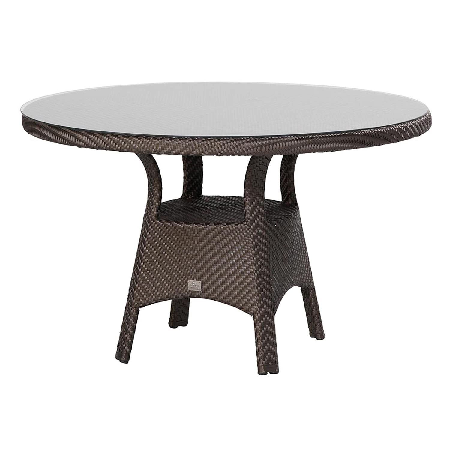 4Seasons Outdoor Refton Dining Table ø 120 cm Fishbone Titanium inkl Glasplatte