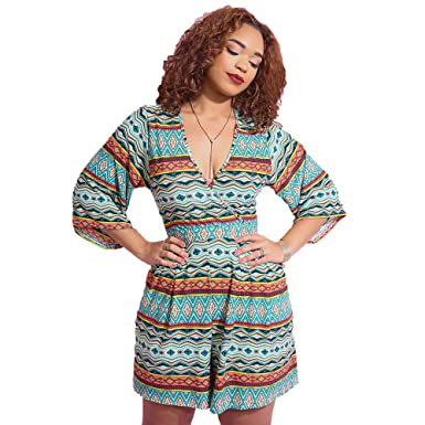 48533daf7c9 Rebdolls ¾ Kimono Sleeve Short Romper - Crossover V-Neck Top - Relaxed Fit  Pleated
