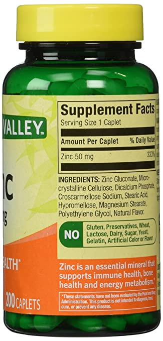 Amazon Com Spring Valley Zinc 50 Mg 200 Ct Health Personal Care