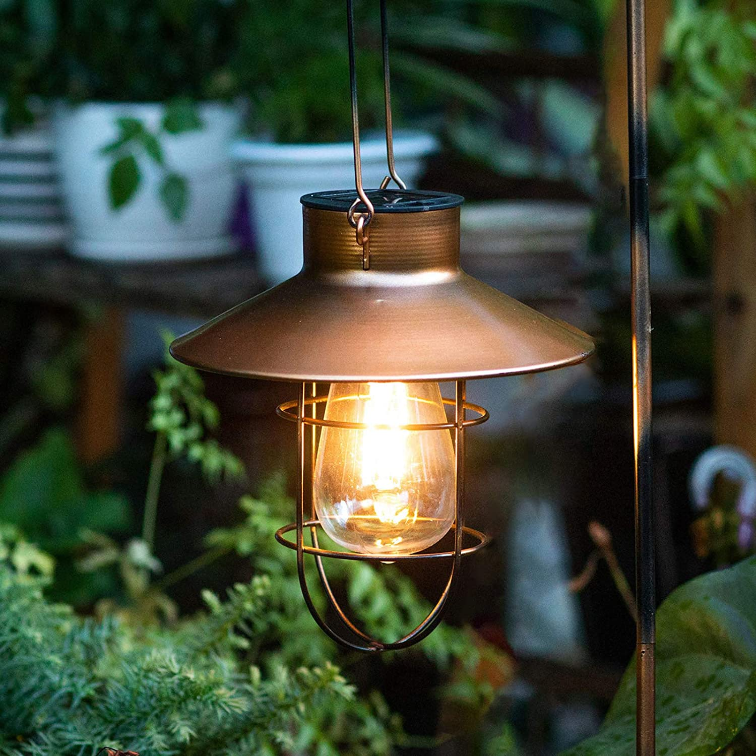 Polami Solar Lanterns Outdoor Hanging Lights Decorative with Metal Shepards Hook for Patio Garden Pathway Yard Decor (2PACK, Copper)